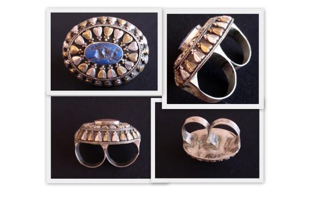 Anillo turkomano de doble dedo con lapislázuli. Joyería tribal vintage